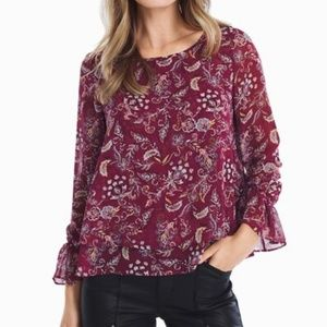 14 WHBM Ecru Printed Long Sleeve Blouse